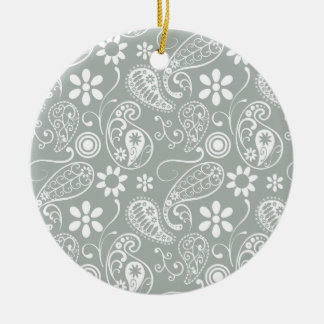 Ash Gray; Grey Paisley Double-Sided Ceramic Round Christmas Ornament