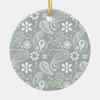 Ash Gray; Grey Paisley Round Ceramic Decoration