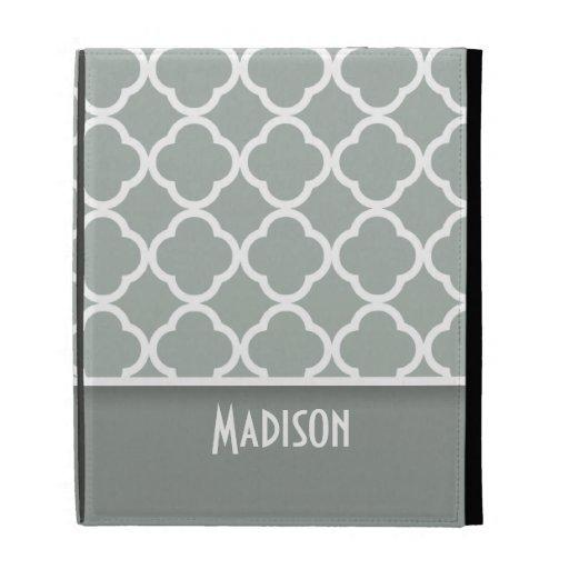 Ash Gray; Grey Quatrefoil; Personalized iPad Folio Cover