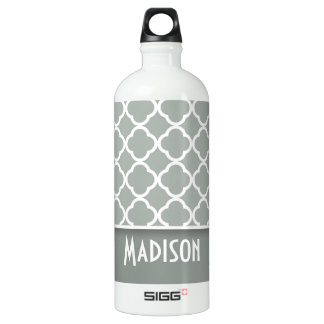 Ash Gray; Grey Quatrefoil; Personalized Water Bottle