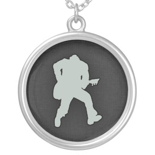Ash Gray Guitar Player Necklace
