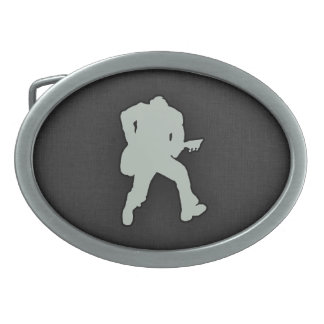 Ash Gray Guitar Player Oval Belt Buckles