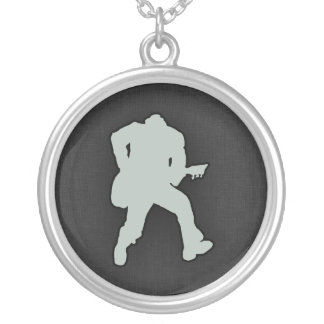 Ash Gray Guitar Player Round Pendant Necklace