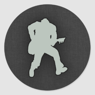 Ash Gray Guitar Player Round Stickers