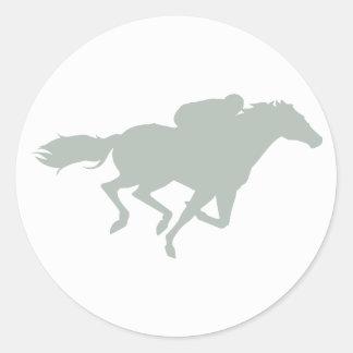 Ash Gray Horse Racing Classic Round Sticker