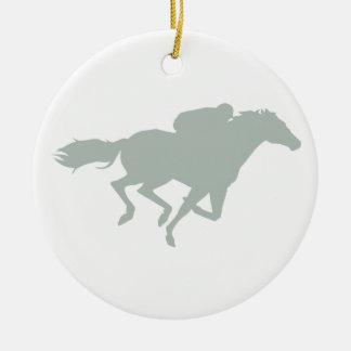 Ash Gray Horse Racing Round Ceramic Decoration