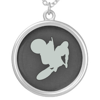 Ash Gray Motocross Round Pendant Necklace