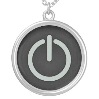 Ash Gray Power Button Round Pendant Necklace
