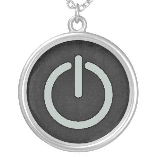 Ash Gray Power Button Necklaces