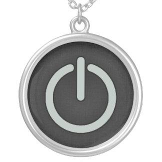 Ash Gray Power Button Round Pendant Necklace