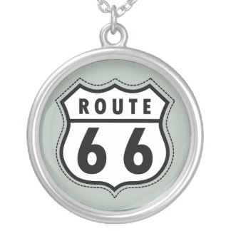 Ash Gray Route 66 Road sign Custom Jewelry