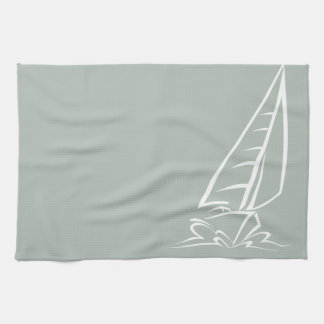 Ash Gray Sailing Tea Towel