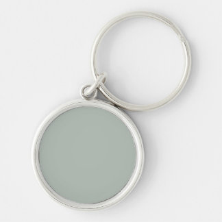 Ash Gray Solid Color Silver-Colored Round Key Ring