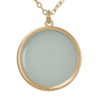 Ash Gray Solid Color Round Pendant Necklace