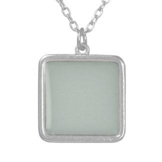 Ash Gray Solid Color Square Pendant Necklace