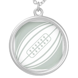 Ash Gray White Rugby Personalized Necklace