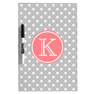 Ash Grey and White Polka Dots with Coral Pink Dry Erase Board