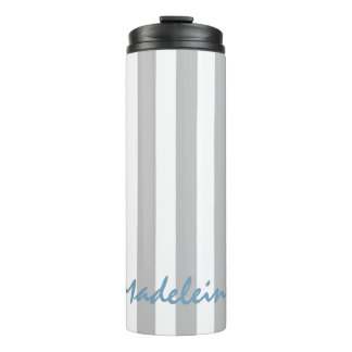 Ash Grey and White Stripes Personalized Thermal Tumbler