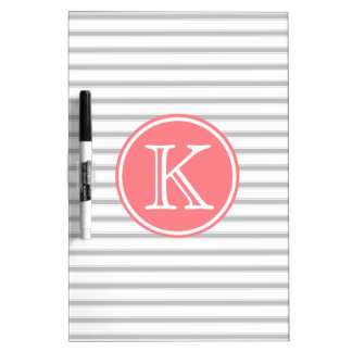 Ash Grey and White Stripes with Coral Pink Dry Erase Board