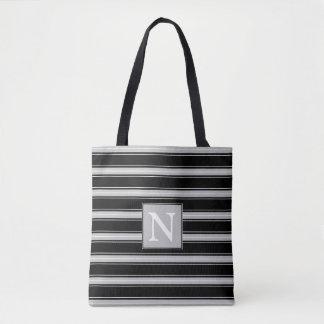 Ash Grey Black and White Stripe Monogram Tote Bag