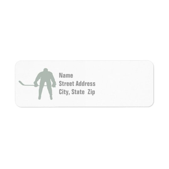 Ash Grey Hockey Return Address Label