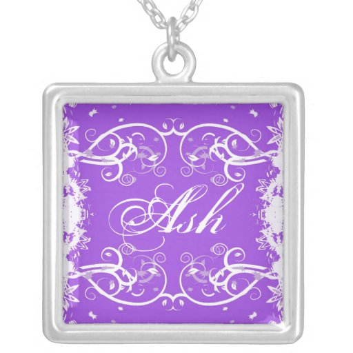 """Ash"" on purple flourish swirls necklace"