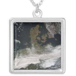 Ash plume from Eyjafjallajokull Volcano 2 Square Pendant Necklace