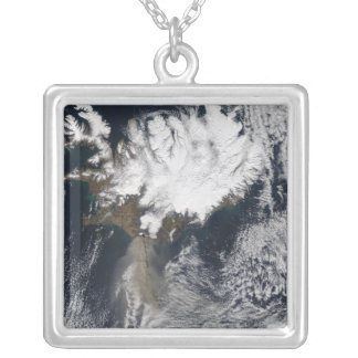 Ash plume from Eyjafjallajokull Volcano, Icelan Silver Plated Necklace