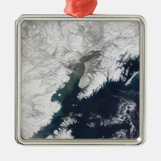 Ash plume from Mount Redoubt, Alaska Silver-Colored Square Decoration