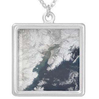Ash plume from Mount Redoubt, Alaska Silver Plated Necklace