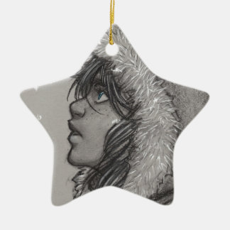 Ash & Snow - Girl in Fur Hood Christmas Ornament