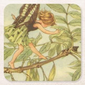 Ash Tree Fairy Walking on Branch Square Paper Coaster