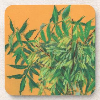 Ash-tree, green yellow summer greenery floral art beverage coasters