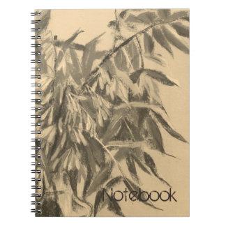 Ash-tree monochrome sepia brown foliage floral art notebook