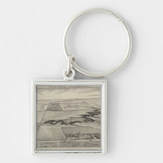 Ash Valley Stock Farm, Larned, Kansas Silver-Colored Square Key Ring