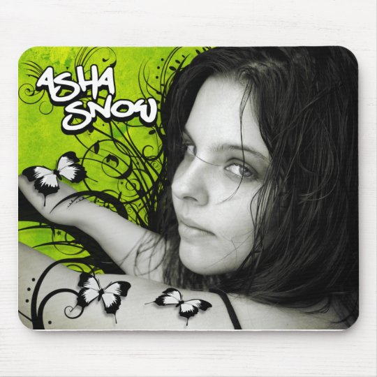 Asha Snow Mousepad: Green Butterflies Mouse Pad