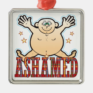 Ashamed Fat Man Silver-Colored Square Decoration