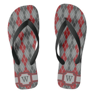 Ashes and Embers Argyle Flip Flops