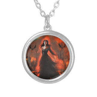 Ashes and fire round pendant necklace