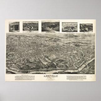 Asheville N. Carolina 1912 Antique Panoramic Map Poster