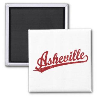 Asheville script logo in red square magnet