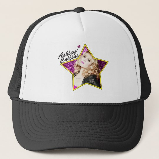Ashley Collins Black and White Star Hat. Trucker