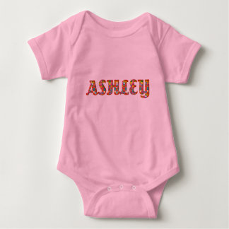 Ashley Cute Love Hearts Red Orange Typography Girl Baby Bodysuit