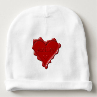 Ashley. Red heart wax seal with name Ashley Baby Beanie