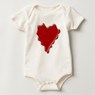 Ashley. Red heart wax seal with name Ashley Baby Bodysuit