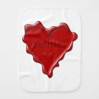 Ashley. Red heart wax seal with name Ashley Burp Cloth