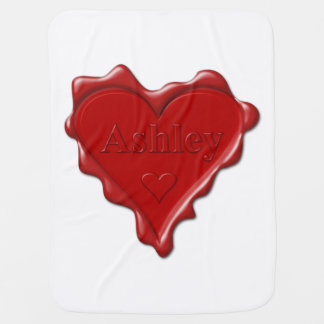 Ashley. Red heart wax seal with name Ashley Pram blanket