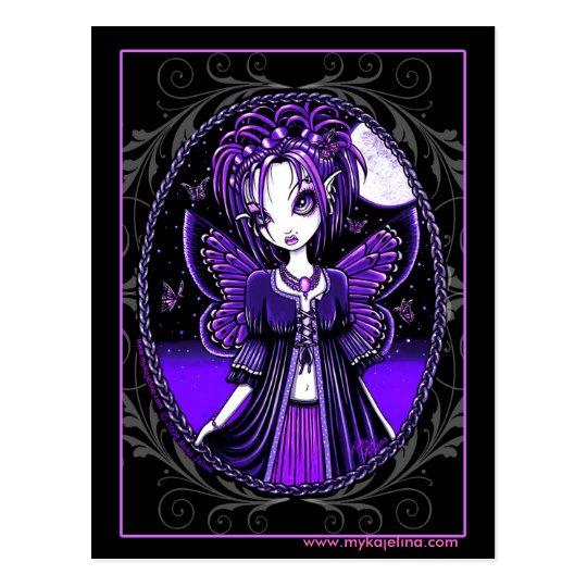 """""""Ashly"""" Purple Butterfly Moon Fairy Postcard"""