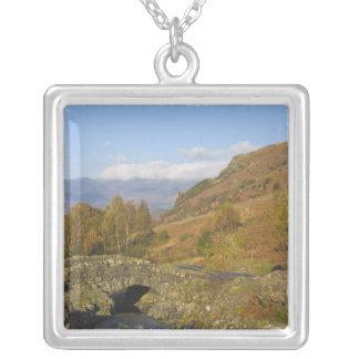 Ashness Bridge, Lake District, Cumbria, England Square Pendant Necklace