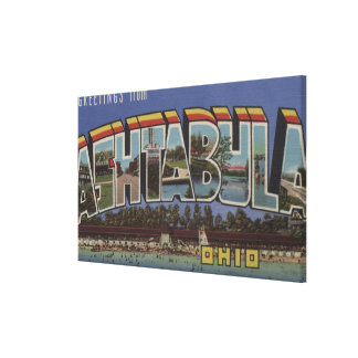 Ashtabula, Ohio - Large Letter Scenes Canvas Print